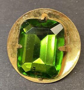 Vintage Button ~  Large Gold Tone Metal Button w Large Green Glass Rhinestone