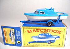 "Matchbox RW 9d boat & trailer azul/blanco 1. gußform en ""e"" box"