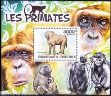 Olive baboon, Monkeys, Wild Animals, Burundi 2011 MNH Sheet