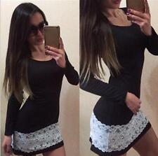 Damen Bodycon Kleid Minikleid Spitze Abendkleid Party Langarm Tunika Bleistift