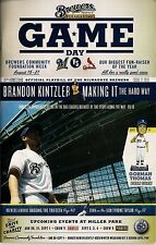 BRANDON KINTZLER COVER MILWAUKEE BREWERS 2013 OFFICIAL GAMEDAY PROGRAM ISSUE #21
