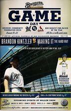 BRANDON KINTZLER COVER MILWAUKEE BREWERS 2013 OFFICIAL GAMEDAY PROGRAM ISSUE #21