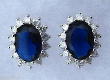 Reale Blu e Bianco Orecchini Cz
