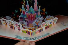 """Disney Giant 12"""" x 8.5"""" Pop Up """"Celebrate"""" Birthday Card Castle Tinkerbell +More"""