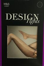M&S New Hosiery Patterned Design Tights. Taupe Medium