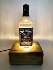 Jack Daniels No 7 Whiskey Bottle Lamp Reclaimed Wood Base Dimmer very Industrial
