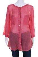 Eileen Fisher Womens Button Down 2 Pocket Blouse Top Pink Linen Size Medium