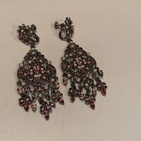 Signed Joan Rivers - Pink Rhinestone Statement Costume Clip On Dangle Earrings