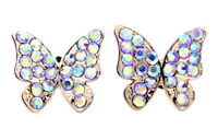 Vintage retro style gold butterfly stud earrings with multicolour effect crystal