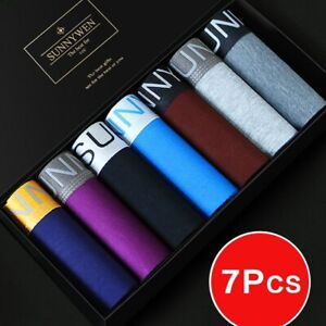 7pcs/Lot Men's Cotton Panties Breathable Boxer's Comfortable Shorts Underwear