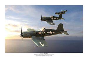 "WWII WW2 USN VF-17 Vought F4U Corsair Ace Aviation Art Photo Print -12"" X 18"""