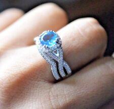 WOMENS 14K WHITE GOLD FINISH WEDDING ENGAGEMENT RING BRIDAL SET ROUND AQUAMARINE