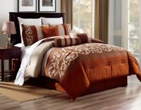 3PC ALEX #8 RUST BROWN BEIGE WESTERN Embroidered DUVET COMFORTER BED COVER SET