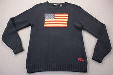 RALPH LAUREN POLO Made in Japan Women Navy Blue USA Flag Crewneck Sweater NEW XL