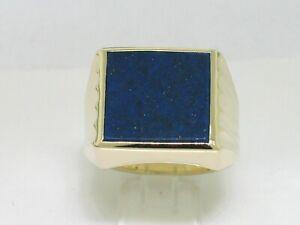 Klassischer Herrenring Ring 585 Gelbgold 14Kt Gold  Lapislazuli