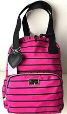BETSEY JOHNSON Backpack 2 in 1 Tote Bag Fuchsia Black Stripes School Travel NWT