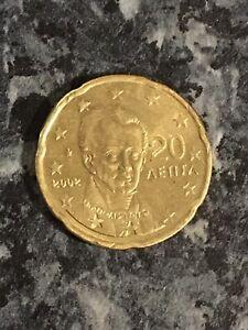 """⭐ Grece 20 cent euro 2002 avec """"E"""" dans l'étoile ⭐ RARE"""