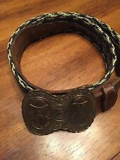 "Vintage Belt Texas Maker Mark 36"" Butch Cassidy Sundance Belt Buckle"