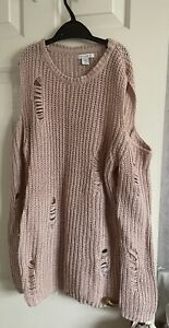 Girls Ripped Style Jumper Pink Age 12-13 Years
