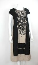 RANGMANCH women's Indian style black and tan floral cotton dress size XS NWT
