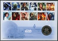2015 Star Wars Characters Illus. F.D.C. With Medal.
