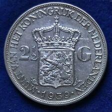 Niederlande 2 1/2 Gulden Silber Wilhelmina 1939