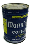 Vintage Manning's Coffee Can 1 Lb With Lid Very Good Condition