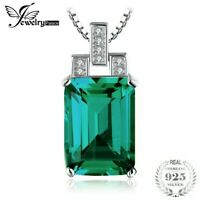 Natural 925 Sterling Silver Necklaces 6.51 cts Emerald Cut Pendant