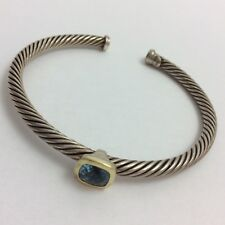 DAVID YURMAN STERLING SILVER 18K GOLD BLUE BANGLE BRACELET