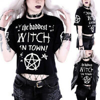Women Fashion Gothic Style Punk Girl Casual Short Sleeve Blouse Top T-shirt