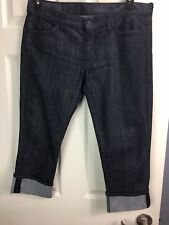 SEVEN FOR ALL MANKIND Sz 32 /12 Roxanne Dark Wash Denim CROPS JEANS Pants