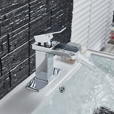 Chrome Single Lever Bathroom Sink Faucet Vanity Waterfall Countertop Tap W/Plate