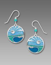 Adajio Foaming OCEAN WAVES in Caribbean Blue Earrings STERLING Silver + Gift Box