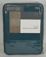 Kenneth Cole Reaction Home Waffle Twin Blanket in Teal - Brand New