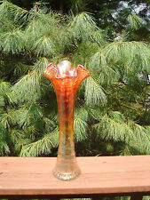 """?? IMPERIAL?    CAIMPERIAL swung  CARNIVAL GLASS VASE marigold 11"""" h iridescent"""