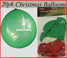20 pkt CHRISTMAS Red White Green BALLOONS with GREETINGS Theme Party Decoration