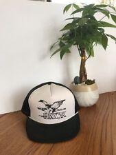 "Vintage ""WQHK RADIO 1380 The Hawk"" Hat Black & White One Size Ships N24h"