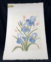 Original Watercolor Painting Flowers Signed Vintage 1980's 16 x 12