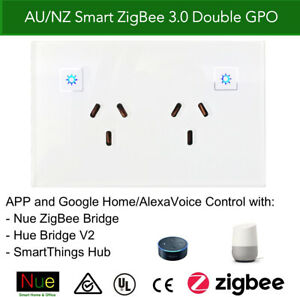Smart ZigBee Double Power Point Socket Compatible with SmartThings Hue Hubitat