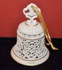 2004 Wedgwood Pierced Bell Ornament Eggshell Bisque Porcelain Euc