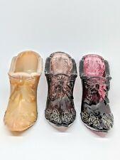 Mosser Glass Bow & Scroll Pattern Slag Amethyst Purple Smoke Slipper / Shoe