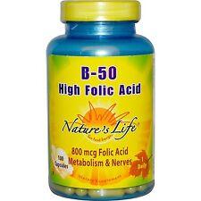 B-50, 100 cápsulas, alta ácido fólico-Nature 's Life
