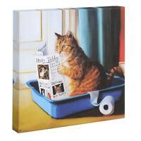 """Cat Reading Newspaper In Litter Box Canvas Print Wall Art, 11"""" x 11"""""""