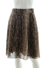 Paule Ka Snake Print Pleated Skirt / Brown