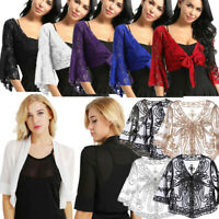 Women Floral Lace Shrug Half Sleeves Bolero Ladies Cardigan Tops Cover-Up Jacket