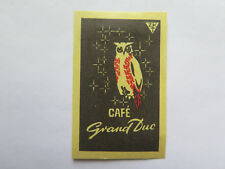 CAFE GRAND DUC MATCHES MATCH BOX LABEL c1950s NORMAL SIZE MADE in SWITZERLAND