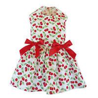 Red Cherries Dog Dress Little Dog Clothes Small Dog Apparel Size M S XS XXS XXXS