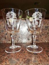 Glass Lead Crystal Goblets MOUNT Coat of Arms Family Crest France Bleikristall