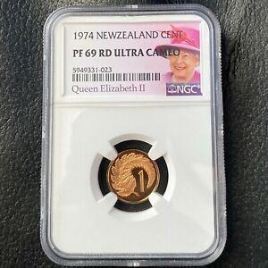 New Zealand 1 Cent 1974 Fern Leaf NGC PF 69 RD Ultra Cameo KM# 31.1 TOP POP