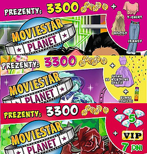 Moviestar Planet 3 digital codes :1Hair&jeans+1dress +1 VIP7 days